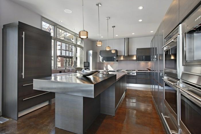 küche einrichten metallic look und weiße wände