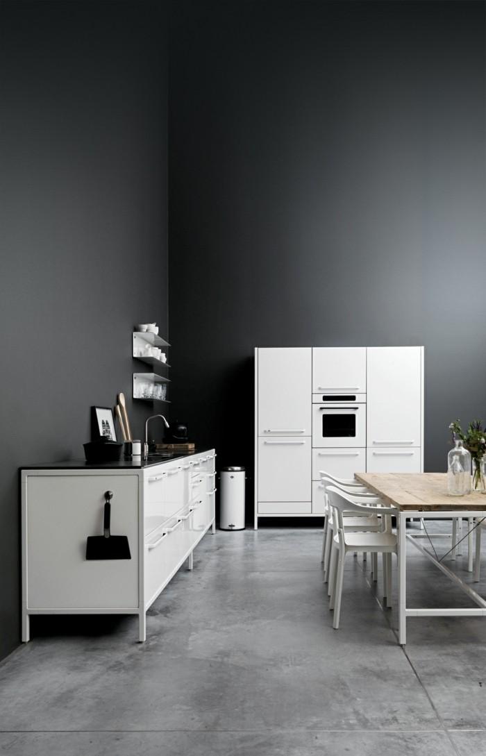 küche einrichten minimalistisch mit bodengestaltung in holzoptik