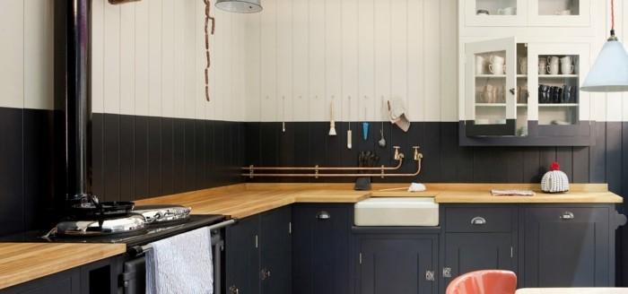 küchenarbeitsplatten holzoptik mit mattem schwarz kombinieren für einen schönen look
