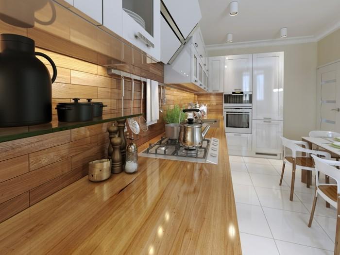 küchenarbeitsplatten wunderschöne holzoptik und weiße bodenfliesen