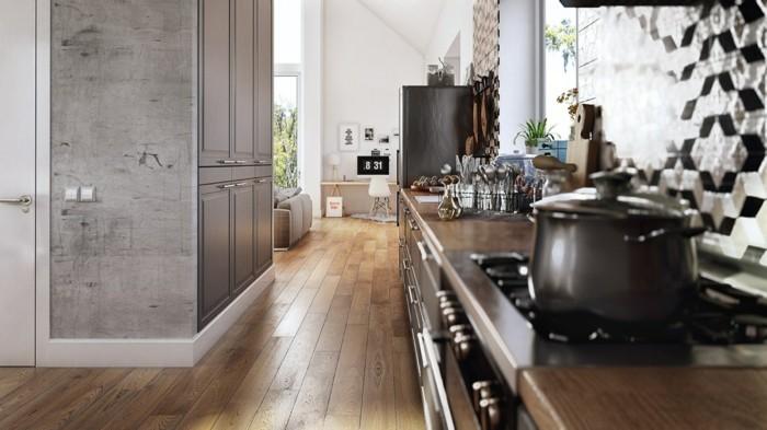 küchentrends 2019 akzentwand in betonoptik holzboden und mosaikwand