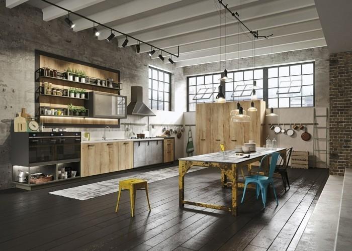 küchentrends 2019 industrielle küche kombination von holz und metalloberflächen
