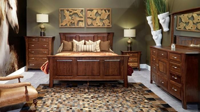 massivholzmöbel in dunkleren schattierungen im modernen schlafbereich