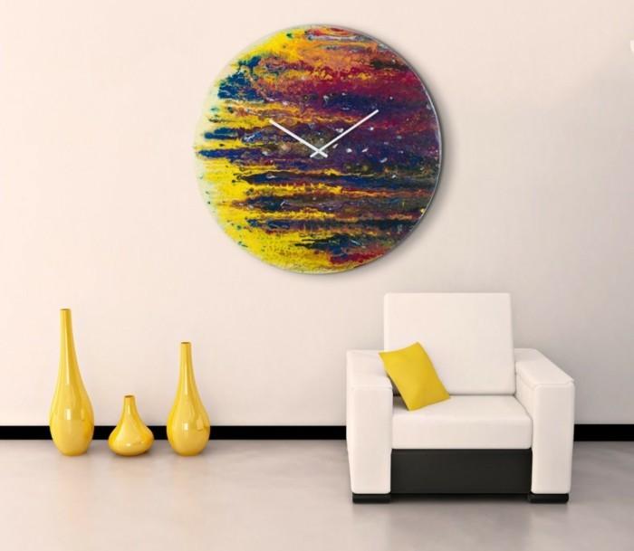 moderne wanduhren rund und farbenfroh