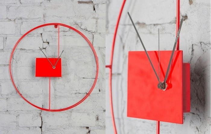 moderne wanduhren schlichtes design in rot