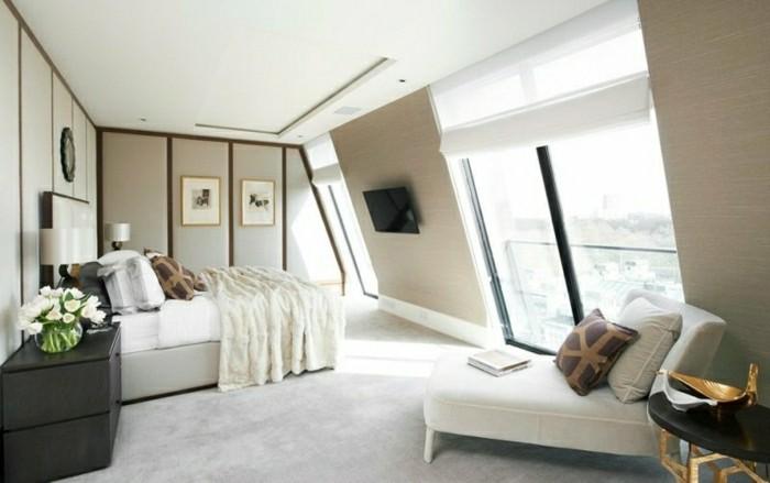 schlafzimmer einrichten mit dachschräge stilvolles interieur mit erholungsbereich