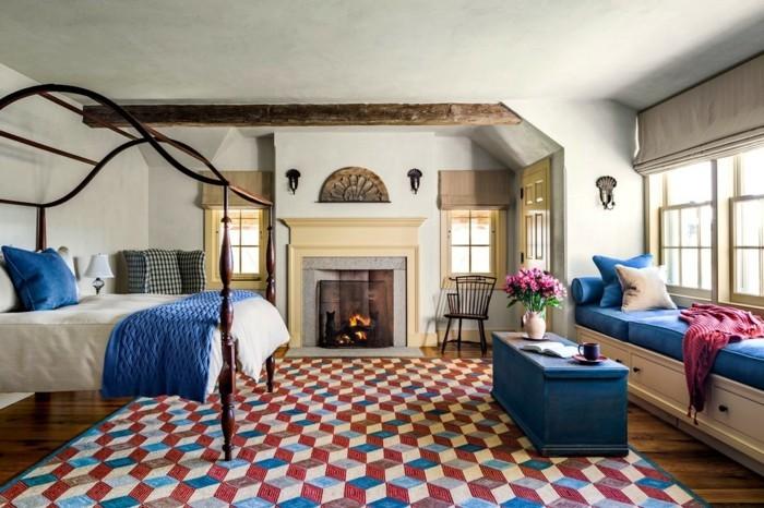 Incroyable Schlafzimmer Landhausstil Blaue Akzente Und Frischer Teppich