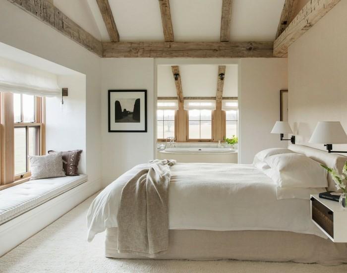 schlafzimmer landhausstil hölzerne akzente und weiße wände