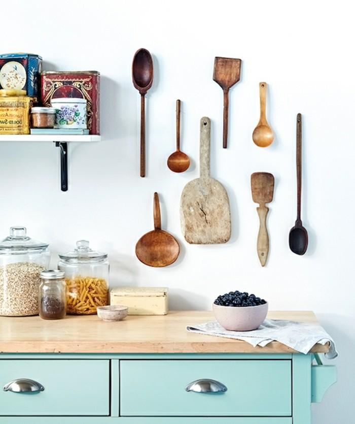 stauraum ideen küche die wand benutzen