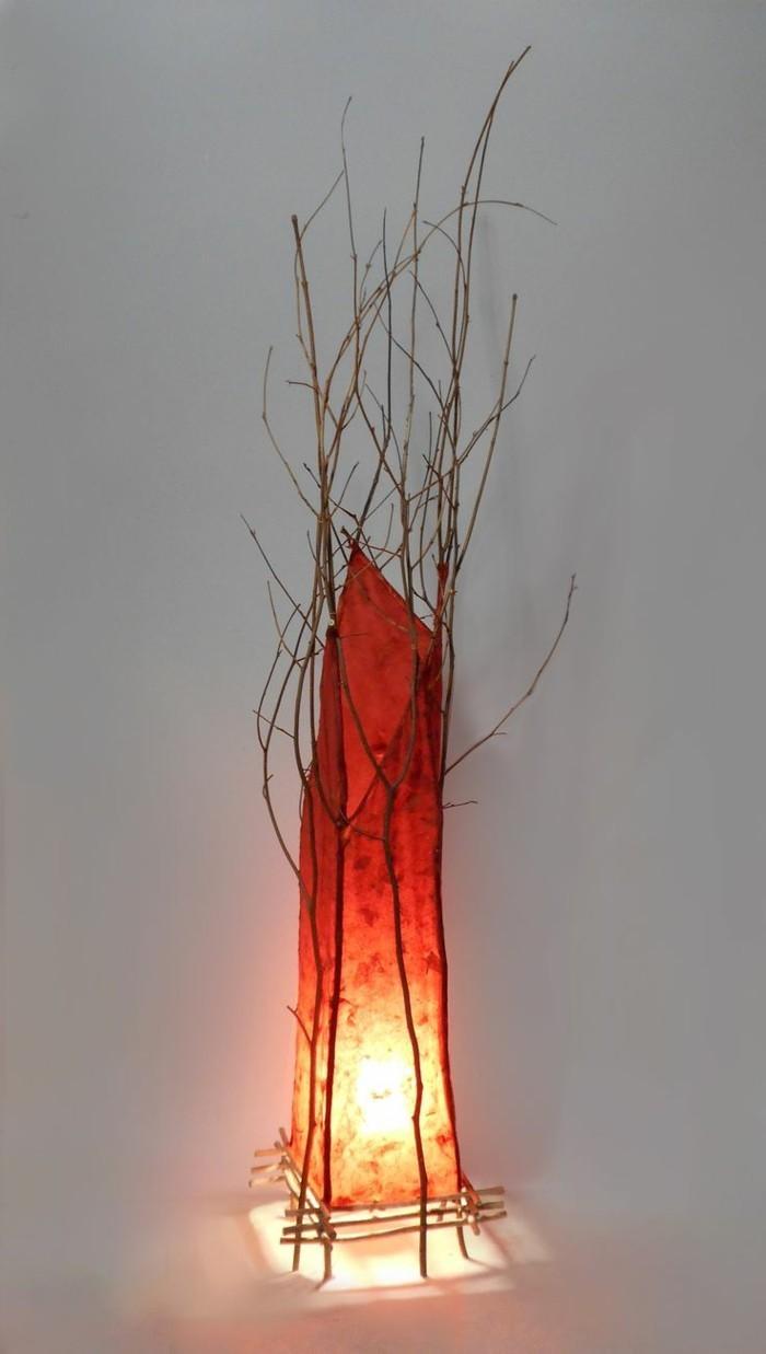 treibholz lampe diy ideen organische form rot