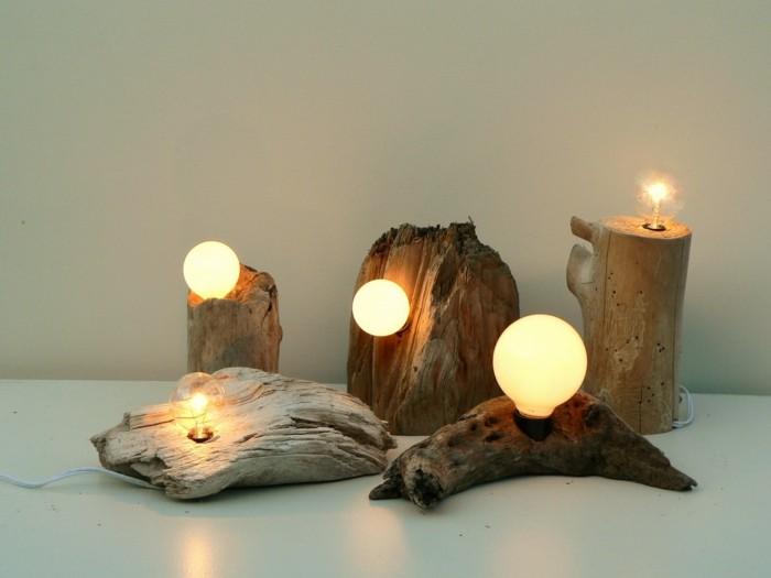 treibholz lampe diy ideen tischleuchte