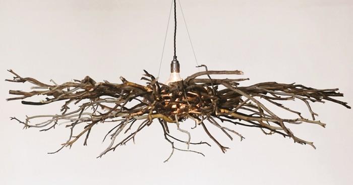 treibholz lampe diy ideen vogelnest