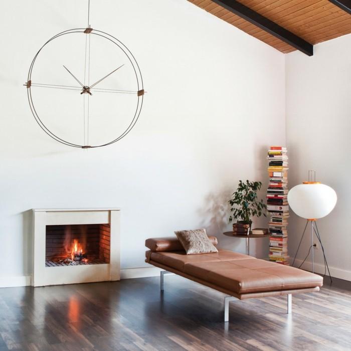 wanddeko ideen für das moderne wohnzimmer futuristische wanduhr