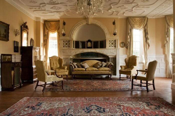 wohnideen wohnzimmer klassischer einrichtungsstil mit wunderschöner zimmerdecke