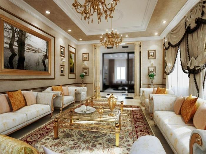 wohnideen wohnzimmer mit abgehängter decke und stilvollen mustern