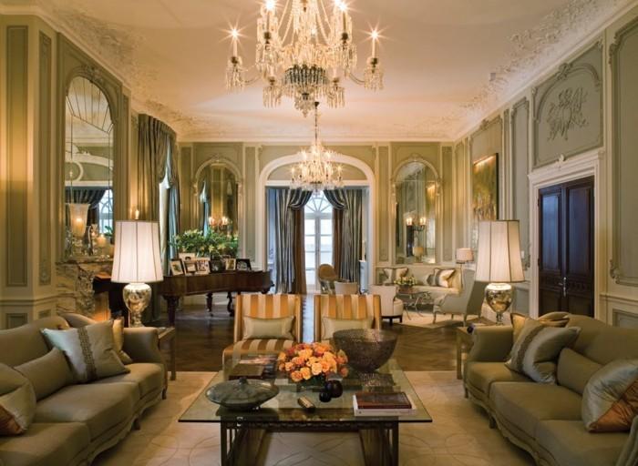 wohnzimmer einrichten ideen im klassischen stil neutrale farben und viel gemütlichleit