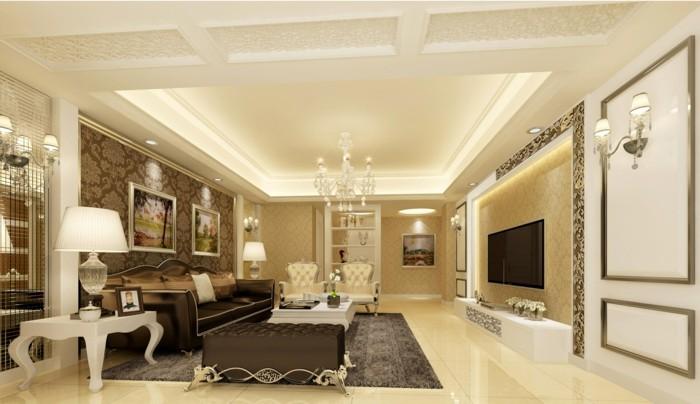 wohnzimmer einrichten ideen klassischer wohnbereich mit abgehängter decke und hellem boden