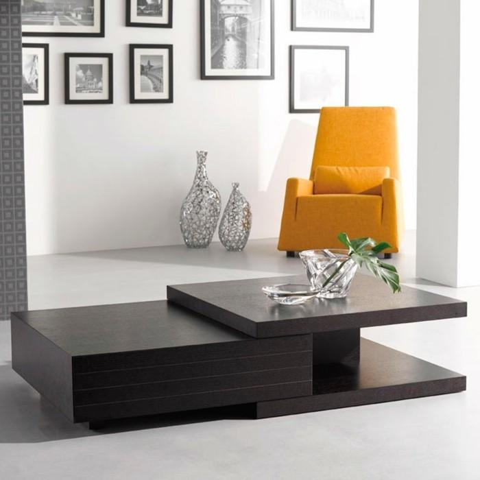 wohnzimmer tisch mit außergewöhnlichem design in schwarz