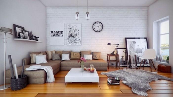wohnzimmer tisch niedriger weißer tisch und felteppich