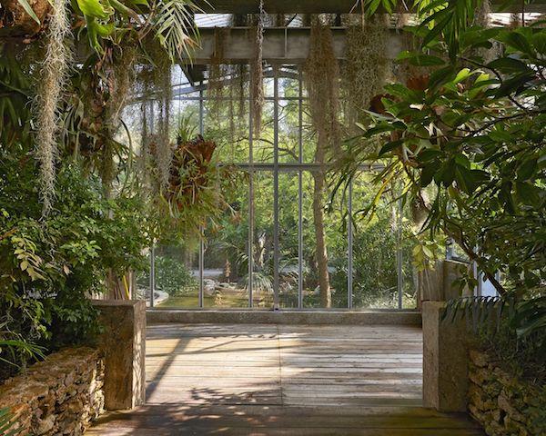Gewächshau französische Villa herrliche Architektur exotische Pflanzen