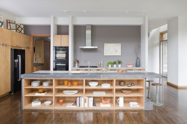 Küchenarbeitsplatte Beton mit Holz kombinieren