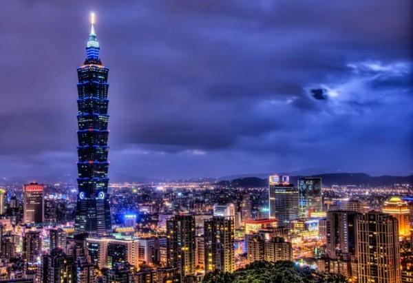Tapei 101 Wolkenkratzer Panoramabild Hauptstadt Taiwan (2)