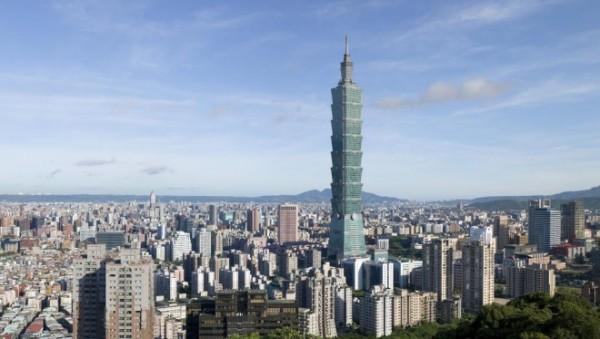 Tapei 101 Wolkenkratzer Panoramabild Hauptstadt Taiwan