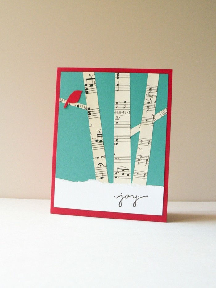Weihnachtskarten selber basteln diy ideen basteln mit notenblatt