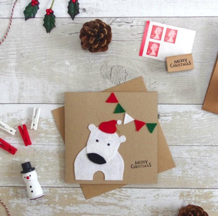 Weihnachtskarten selber basteln diy ideen eisbaer