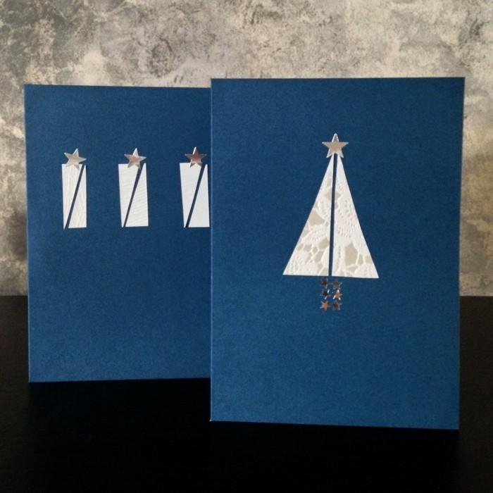Weihnachtskarten selber basteln diy ideen elegant