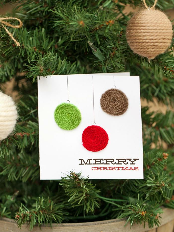 Weihnachtskarten selber basteln diy ideen glitzer schmuck