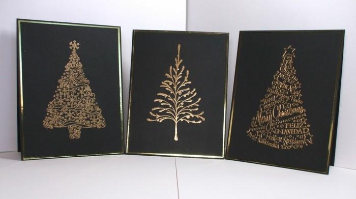 Weihnachtskarten selber basteln diy ideen gold