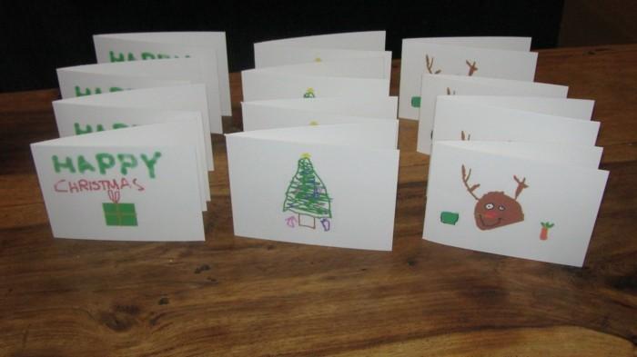 Weihnachtskarten selber basteln diy ideen kinderyeichnungen
