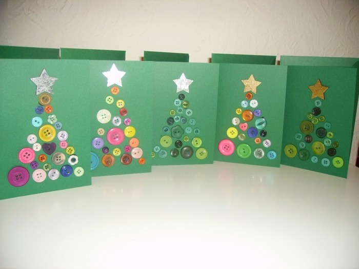 Weihnachtskarten selber basteln diy ideen knoepfen