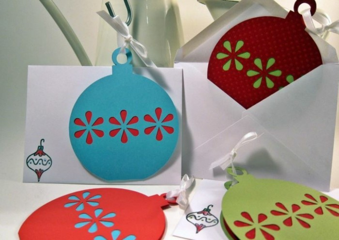 Weihnachtskarten selber basteln diy ideen schablone