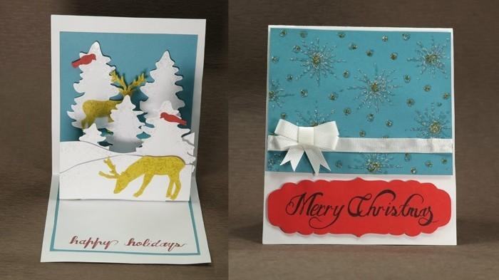 Weihnachtskarten selber basteln diy ideen schichten