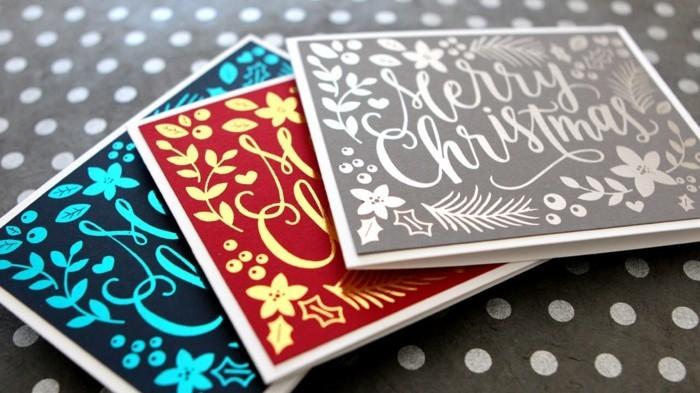 Weihnachtskarten selber basteln diy ideen typografie