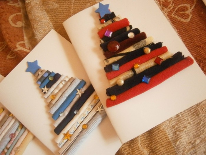 Weihnachtskarten selber basteln diy ideen upcycling ideen