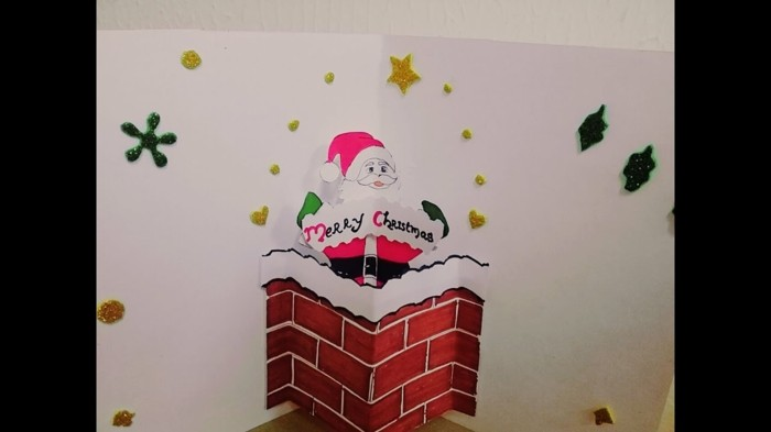 Weihnachtskarten selber basteln diy ideen weihnachtsmann