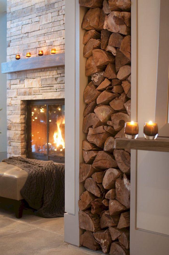 ästhetische Brennholz Lagerung Wohnzimmer