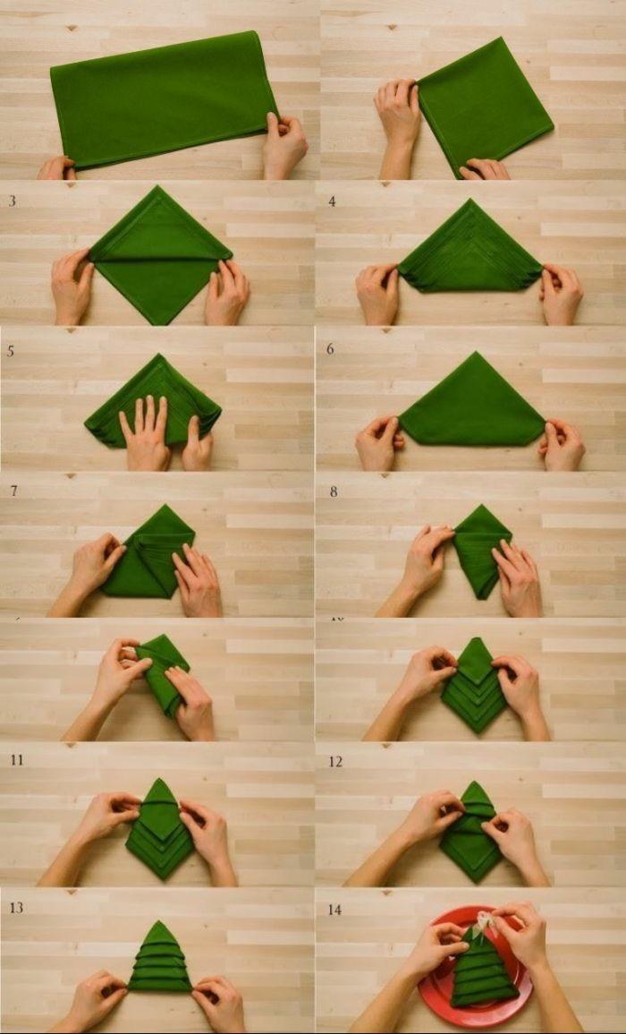 basteln für weihanchten tischdeko servietten falten