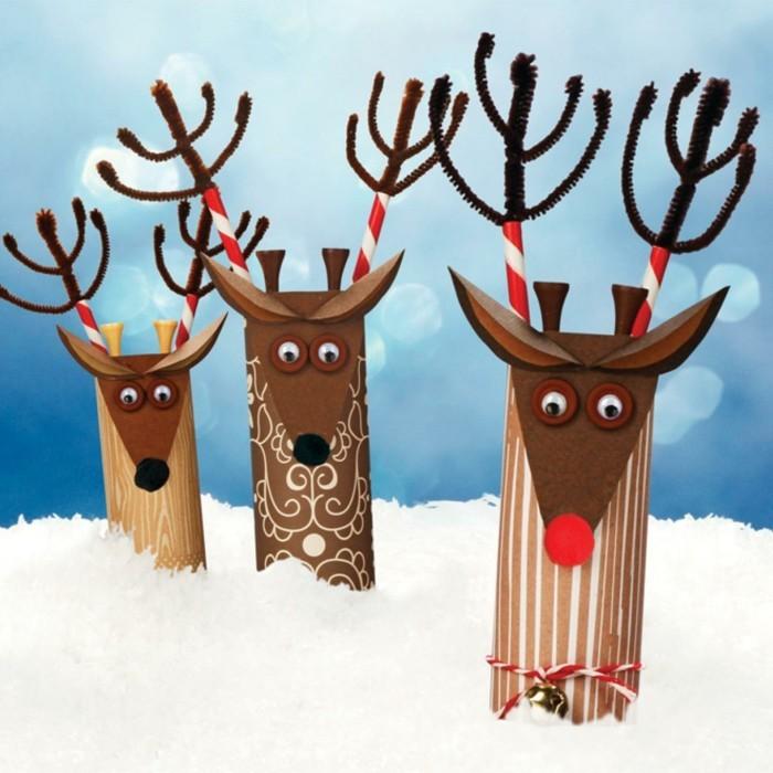 basteln mit klopapierrollen weihnachtsdekoration