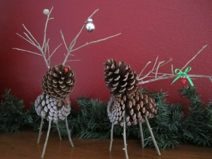basteln mit tannenzapfen tiere basteln weihnachtsdeko ideen