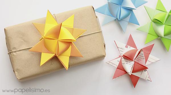 bunte origami weihnachten sterne basteln