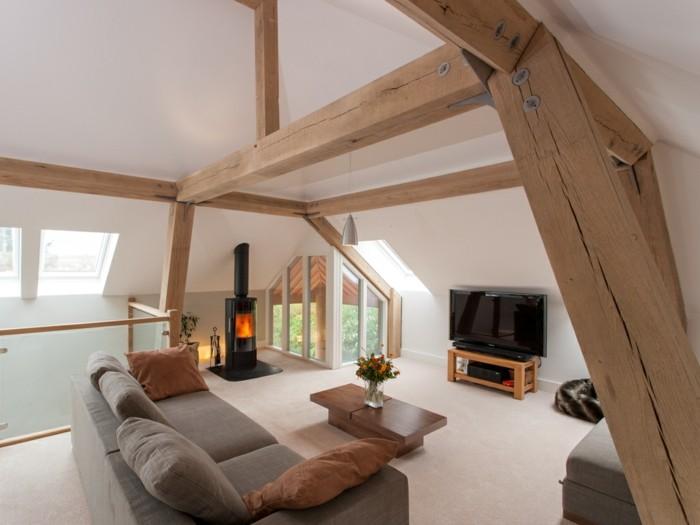 dachschräge einrichten wohnideen wohnzimmer