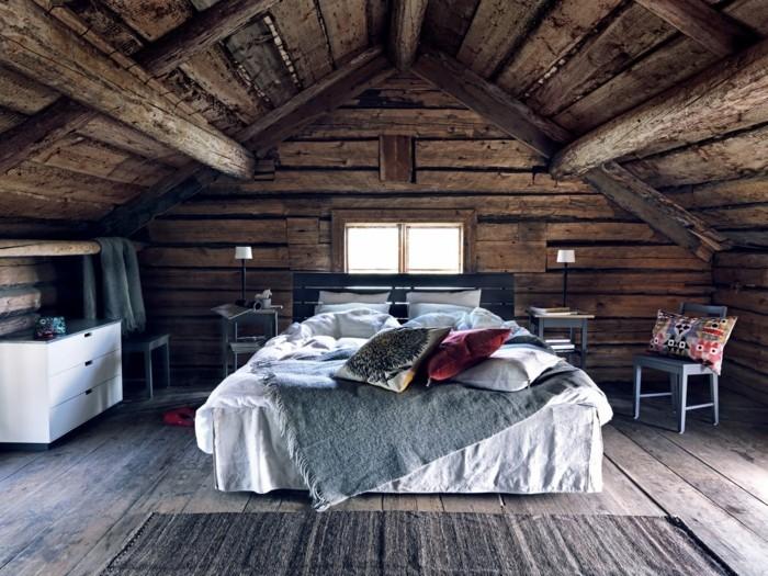 dachschräge einrichten rustikales schlafzimmer gestalten