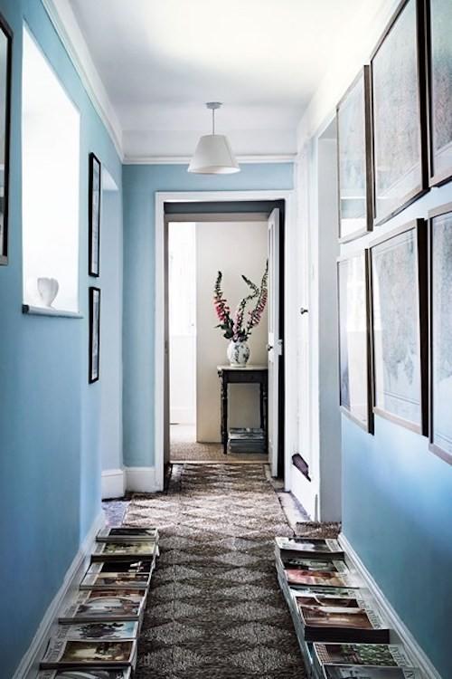 deko ideen flur wanddeko bilder blaue wände