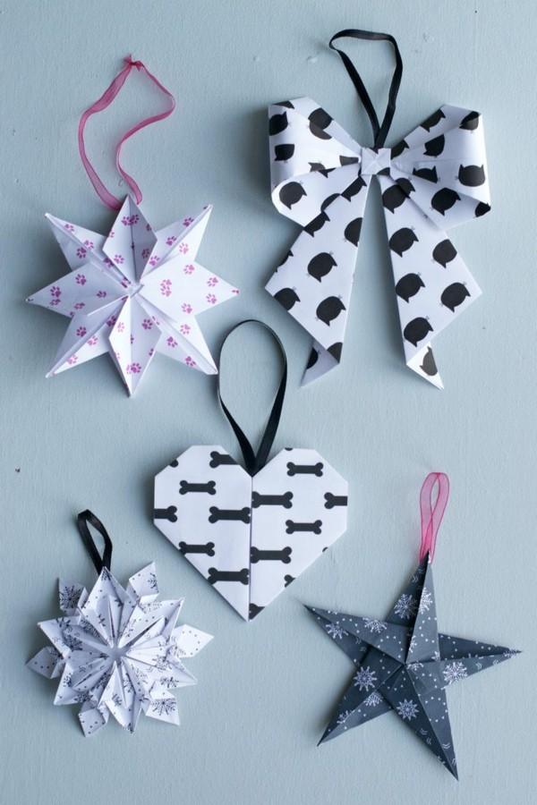 diy weihnachtsdeko origami dekoanhänger weiß schwarz