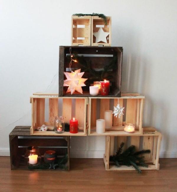 diy weihnachtsdekoration ideen christbaum paletten