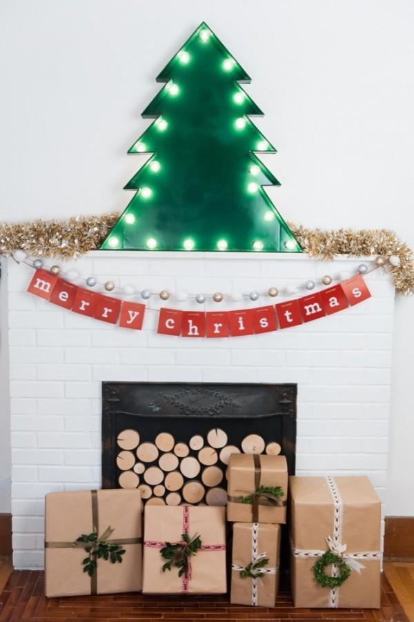 diy weihnachtsdekoration ideen kaminsims dekorieren geschenke